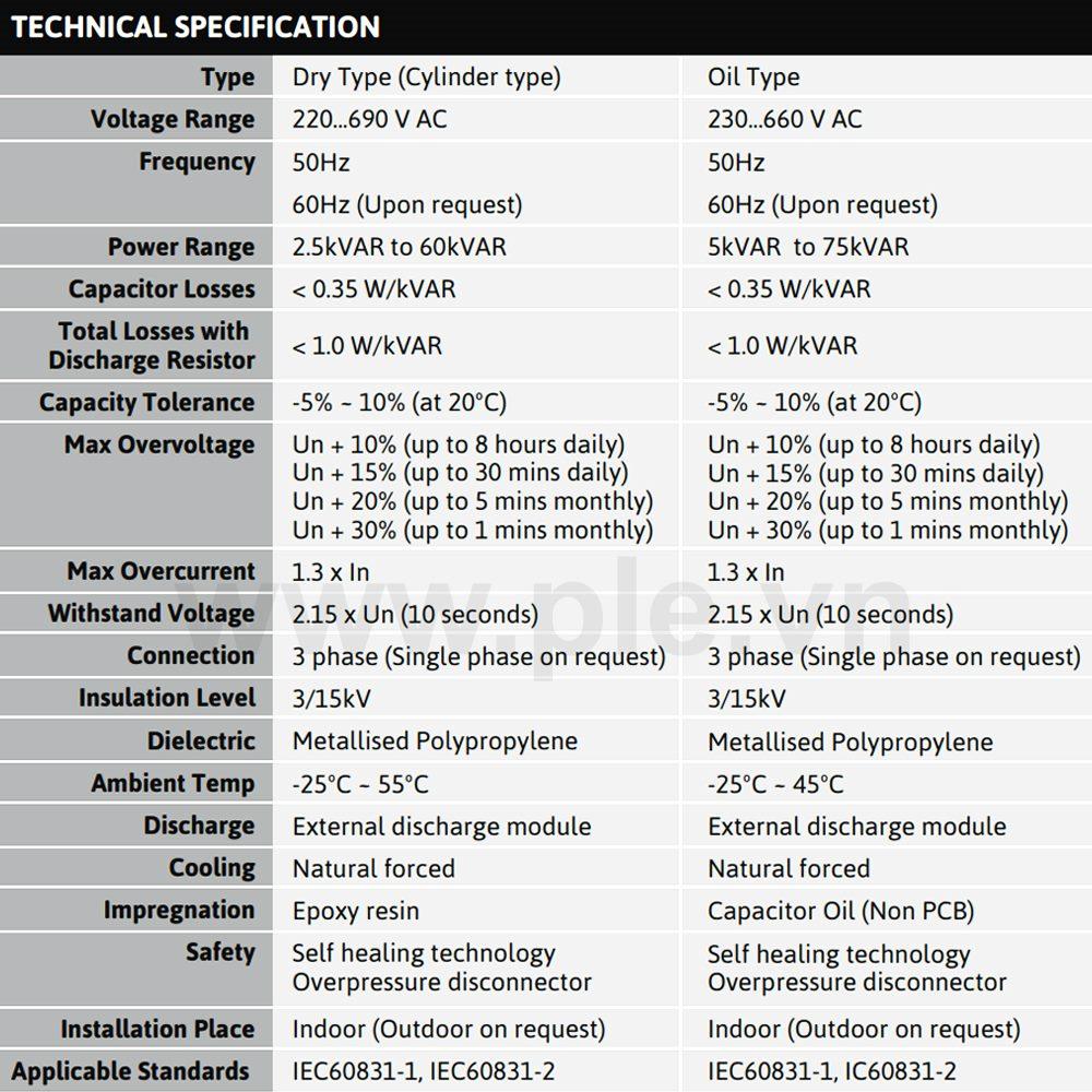 Thông số kỹ thuật Tụ bù Mikro MMS-235020KT