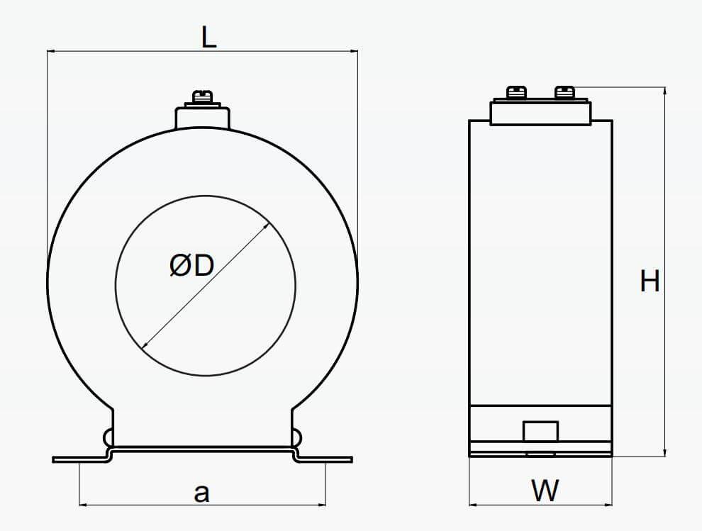 Cấu tạo và Kích thước Mitex BD02 CCX 1 tỷ số 200/5A, 5VA W=1, ĐK 35