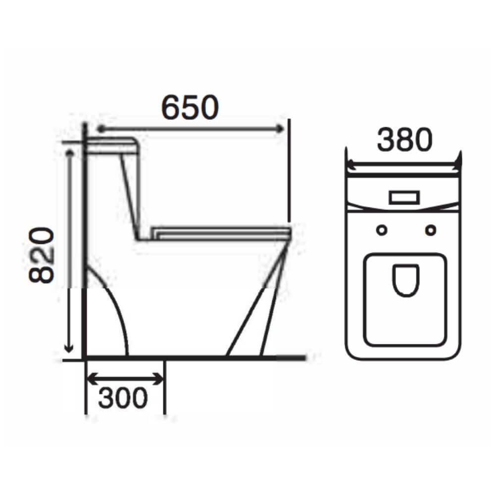 Kích thước Bồn Cầu Một Khối NERVIN NVBC999 width=