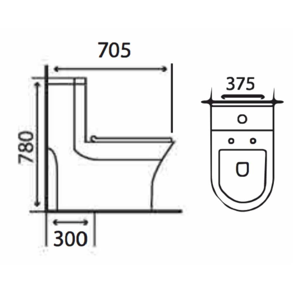 Kích thước Bồn Cầu Một Khối NERVIN NVBC930 width=