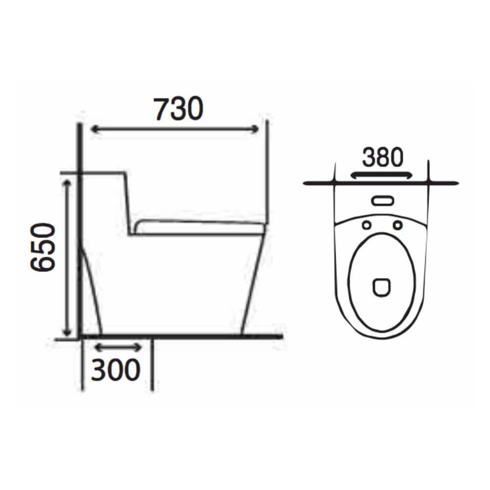 Kích thước Bồn Cầu Một Khối NERVIN NVBC937 width=