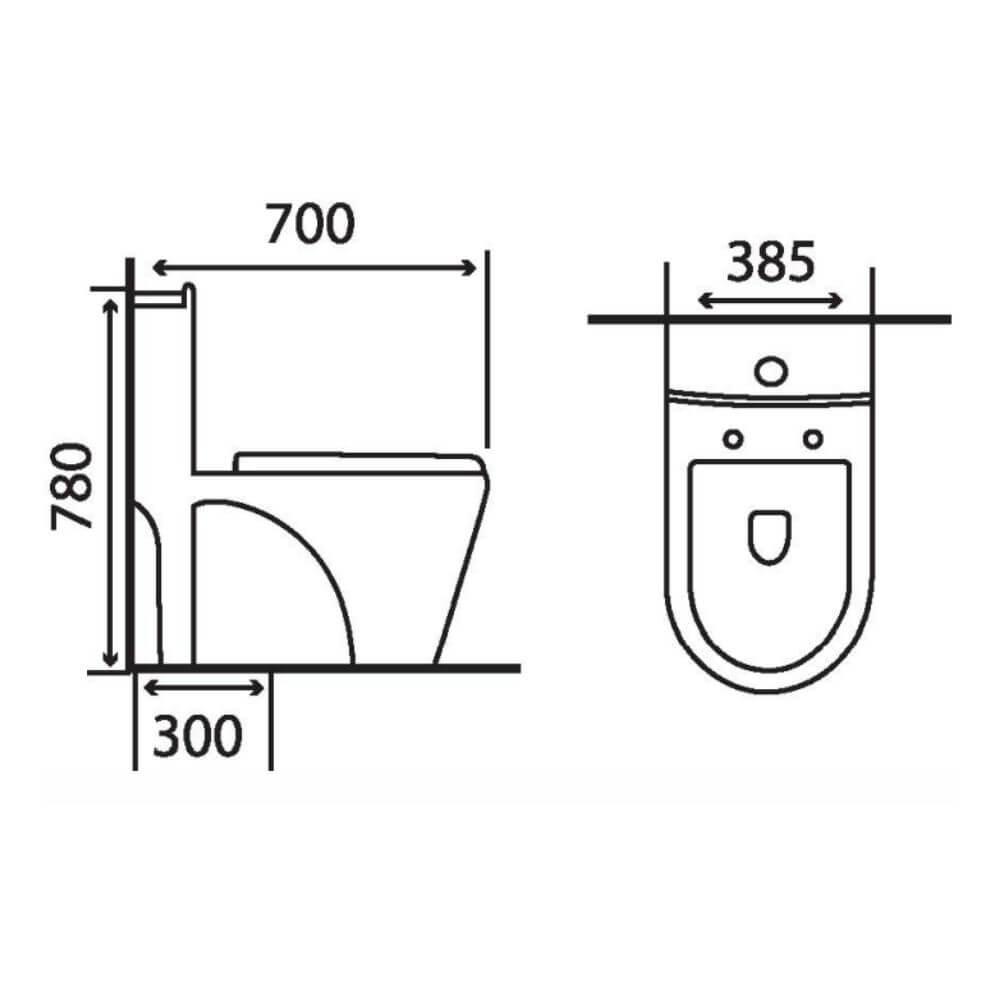 Kích thước Bồn Cầu Một Khối NERVIN NVBC900 width=